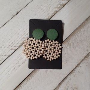FOREST GREEN WOODEN ROUND EARRINGS